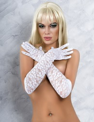 Lace Elbow Length Gloves White