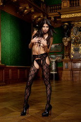 Bow Lace Suspender Pantyhose Black (Small To Large)
