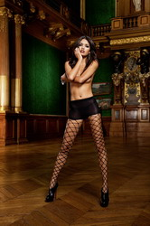 Control Top Diamond Net Pantyhose Black (Small To Large)