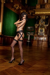 Criss Cross Lace Garter Belt with Fishnet (Small To Large)