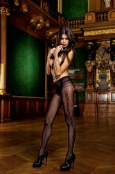 Diamond Net Thigh High Fine Mesh Black (Small To Large)