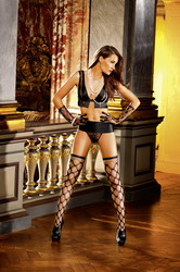 Diamond Net Thigh High Course Mesh Black (Small To Large)