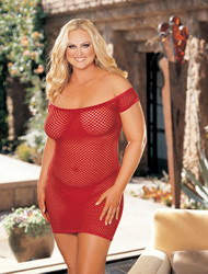 Big Hole Fishnet Stretch Dress Red (Extra Extra Large Plus)