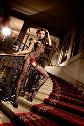 Flower Lace Peek-A-Boo Bodystocking (Small To Large)