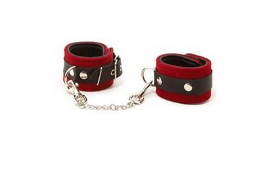 Suede Leather Wrist Cuffs: Red