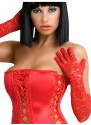 Lace Elbow Length Gloves Red