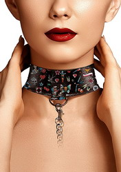 Printed Collar With Leash Old School Tattoo Style