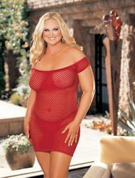 Big Hole Fishnet Stretch Dress Red (Extra Extra Large Plus)