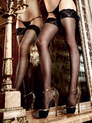 Black Lace Stockings With Rear Tieable Lace Cuffs (Small To Large)