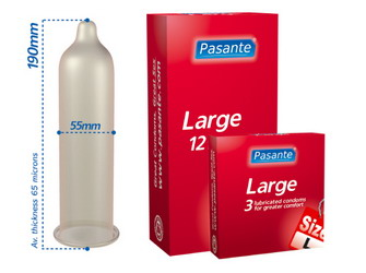 Pasante Large Condoms: 48 pack