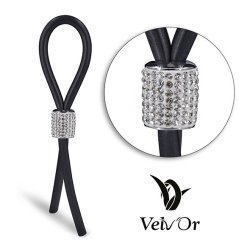 Velv'Or JBoa 301 Adjustable Cock Ring: Silver White Crystals